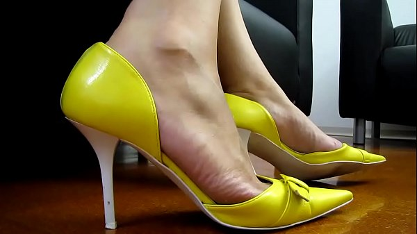 High heels, Shoes, Yellow, Shoe